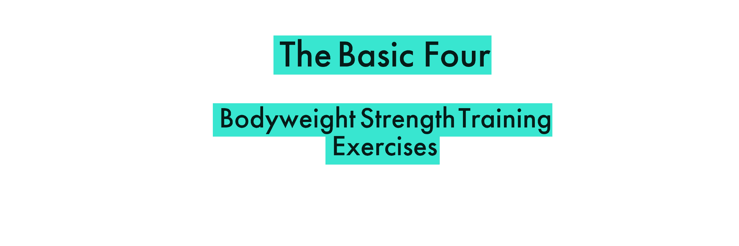 """Basic 4"" Body-weight Strength Training Exercises"